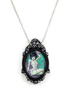 Zombie Bride of Frankenstein Necklace with by ProjectPinup on Etsy, $18.00
