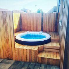 Hot Tub Backyard, Hot Tub Garden, Backyard Plan, Small Backyard Pools, Garden Bar Shed, Home Spa Room, Hot Tub Surround, Piscine Diy, Jacuzzi Outdoor