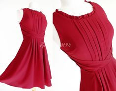 NEW Deep Red Cute Ruffle Neckline Elegant Pleated Fit Flare Classic Shift Dress | Clothing, Shoes & Accessories, Women's Clothing, Dresses | eBay!