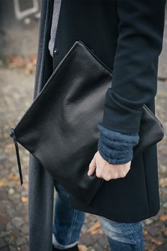 Oversized Leather Clutch Black 15 inch, every day  black clutch