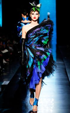 Blue Butterfly Trend Jean Paul Gaultier Spring Summer  2014 #couture #fashion