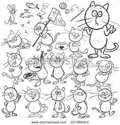 Hand drawn cats, cartoon characters set, sketch by Natalia Hubbert, via ShutterStock