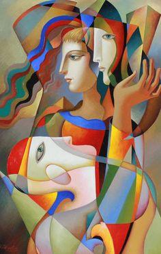 Silent Talk 2016 by Oleg Zhivetin - Oil Painting on Canvas African Art Paintings, Modern Art Paintings, Original Paintings, Oil Painting Abstract, Abstract Art, Cubist Art, Batik Art, Art Moderne, Figurative Art