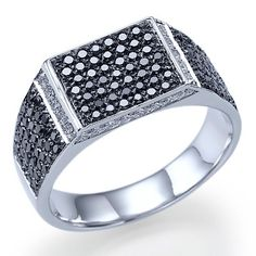 1.80 carats Natural Black Diamond For Men Big Ring 14k White or Yellow Gold. $2,199.00, via Etsy.