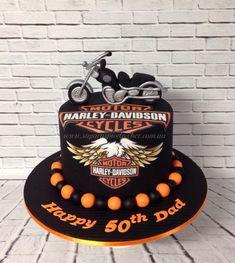 Harley Davidson Bike Cake, Harley Davidson Topper, 50th Birthday Cake
