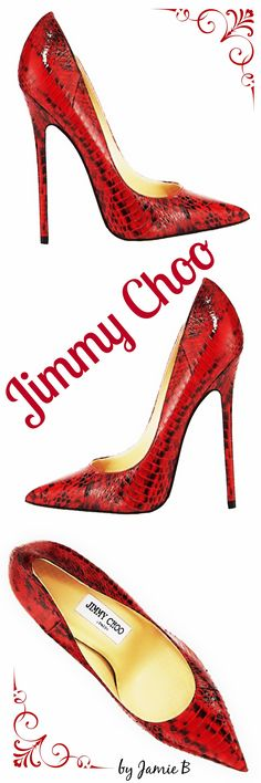 Jimmy Choo Fall 2015 | Anouk Glossy Snakeskin Pump, Red