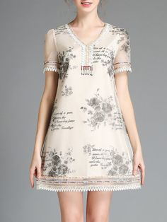 Printed Lace Mini Dress