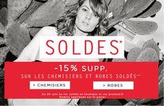 Soldes Promod pendant la 2e semaine des soldes vetements, Promod propose jusqu'à  -15% supplémentaire sur les chemisiers et les robes.