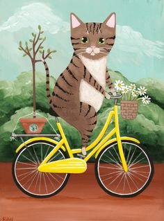 Brown Tabby Earth Day Bicycle Ride Whimsical Cat Folk Art Giclee Print Brown Tabby Earth Day Fahrrad fahren skurrilen Katze Volkskunst Giclée-Druck 8 x 11 x 14 von KilkennyCat Art, USD Memes Arte, Ryan Conner, Frida Art, Art Populaire, Photo Chat, Cat Drawing, Earth Day, Illustrations, I Love Cats