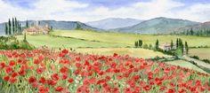 Poppy Field. A  watercolour by Sylvia Twiss