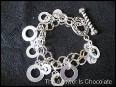 The Answer Is Chocolate: Dollar Tree Washer Charm Bracelet Tutorial Hardware Jewelry, Wire Jewelry, Jewelry Crafts, Beaded Jewelry, Jewelry Bracelets, Charm Jewelry, Silver Jewelry, Do It Yourself Jewelry, Do It Yourself Fashion