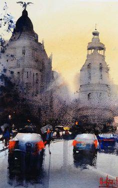 traffic scene watercolour Alvaro Castagnet