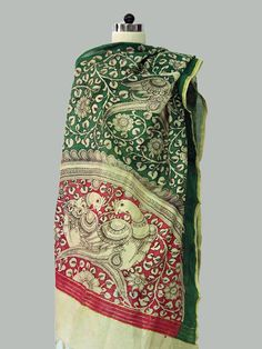 Red - Green Border Handpainted Kalamkari Chanderi Dupatta