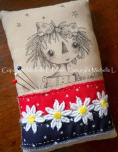 Medium Rectangle Soft Sculpture Pincushion Pillow Ornament Pen Ink Fabric Illustration by Michelle Palmer Daisy Bumble Bee Vintage Pins, Vintage Buttons, Pumpkin Drawing, Summer Painting, Raggedy Ann And Andy, Ink Illustrations, Tole Painting, Soft Sculpture, Fabric Art