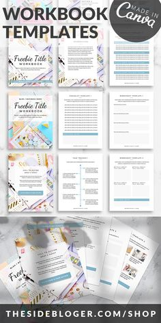 I like the cover pages how they use images with an overlay. I also like how they have color in the templates and some different design elements going on. Overall, I dont' like the colors, images, or fonts, but those will obviously match our brand anyways. Xbox One, Lead Magnet, Marketing Digital, Social Marketing, Fun To Be One, Worksheets, How To Start A Blog, Homeschool, Social Media