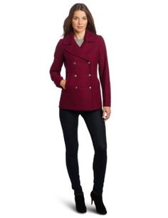 Tommy Hilfiger Women's Classic Double Breasted Wool Pea Coat, Potion, 4 Tommy Hilfiger. $79.99