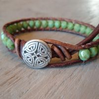 Bohemian leather wrap bracelet green turquoise by slashKnots on Wanelo