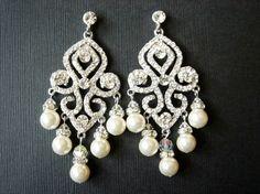 Tajada Large Statement Vintage Chandelier Pearl Earrings