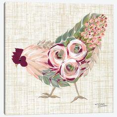 Black Canvas Art, Canvas Art Prints, Canvas Wall Art, Chicken Painting, Chicken Art, Rooster Tattoo, Chicken Tattoo, Galo, Botanical Art
