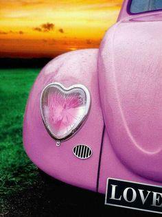 PINK Volkswagen Beetle w/ Heart light cover. Pink Love, Pretty In Pink, Vintage Pink, Pink Color, Pink Purple, Color Pop, Vw Caravan, Auto Girls, My Favorite Color
