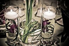 purple wedding centerpieces calla lillies | Simply Perfect by Melissa: If you used the lily grass in your boquets. this would be a good idea. cheap and beautiful