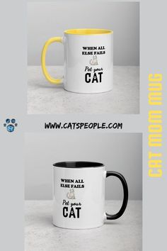 When all else fails, pet your cat! The purrfect motto for every cat parent who's going through a hard time! This unique and cute mug will be a favourite for cat lovers everywhere! Add a splash of color to your morning coffee or tea ritual! These ceramic mugs not only have a beautiful cat inspired design on them, but also a colorful rim, handle, and inside, so the mug is bound to spice up every cat mom's mug rack. #catmommug #catladymug #catdadmug #crazycatladymug #catlovermug #catownermug Mug Rack, Dad Mug, Cute Mugs, Cat Design, Crazy Cat Lady, Ceramic Mugs, Spice Things Up, Color Splash, Fails
