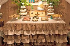 A beautiful country chic burlap tablecloth made from burlap fabric, with 5 tiers of ruffles. Cake Table, Dessert Table, Burlap Ottoman, Ruffled Tablecloth, Burlap Fabric, Burlap Cake, Table Covers, Rustic Wedding, Wedding Ideas