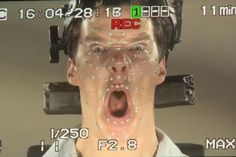 LOL: Benedict Cumberbatch during motion capture for Smaug in THE HOBBIT: THE DESOLATION OF SMAUG