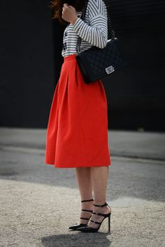 Stripes and a pop of color! // #style
