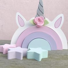 Choosing your littles nursery theme should be enjoyable and fun! Here are ten cute nursery theme ideas sure for you to consider. Unicorn Rooms, Unicorn Decor, Unicorn Party, Rainbow Unicorn, Kids Room Accessories, Wooden Rainbow, Rainbow Theme, Girl Bedroom Designs, Wood Toys