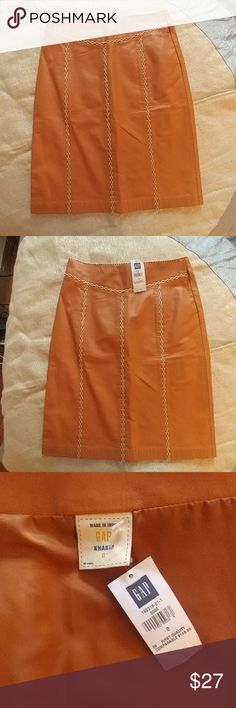 Tan leather skirt by the Gap Brand new with tags! Tan leather skirt with ivory stitching brand new with tags, size 0! GAP Skirts Pencil