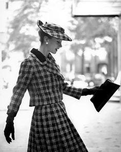 """Photo by Georges Dambier, 1957, """"Gigi"""" in plaid tweed suit, Elle."""