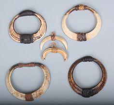 Northern Philippines - Group of Boar's Tusk Armlets and Pendants. Bone Jewelry, Tribal Jewelry, Beaded Jewelry, Jewelry Necklaces, Bracelets, Jewlery, Jewelry Accessories, Jewelry Design, Fantasy Jewelry