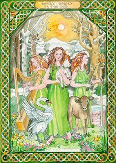 Brigidh, Deusa Tríplice, regente da Inspiração, arte, criatividade, poesia e profecia, da cura (ervas, medicina, cura espiritual e fertilidade) e dos ferreiros, ourives e artesãos. Deusa do Fogo, era homenageada com fogueiras, rodas solares, coroas de velas e rituais que ativavam o Fogo Criador. As lendas celtas descrevem-na como a Deusa em sua apresentação de Donzela tocando, com seu Bastão Mágico, a terra congelada pelo Cajado da Anciã, despertando-a para a vida e aumentando a luz do dia.