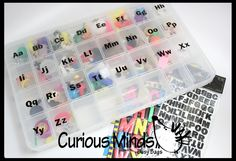 Montessori Alphabet Object Set in Storage Case - Beginning Letter Sounds  -  Alphabet miniatures to use with movable alphabet