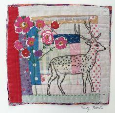 Deer. Embroidered and Applique unframed  on to Vintage Log