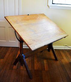 Vintage Industrial Tilt Top Drafting Desk / Drawing by dwellbeing, $275.00
