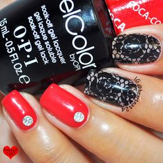 Red & Black Lace Nails