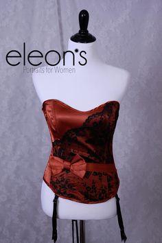 Eleon's Style Closet - Eleon's Portraits for Women - Roseville, CA Copper and black lace accented corset by Fredricks size 36