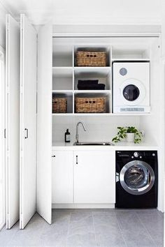 """Discover additional information on """"laundry room storage diy shelves"""". Have a look at our internet site. Laundry Room Doors, Laundry Closet, Small Laundry Rooms, Laundry Room Organization, Laundry In Bathroom, Small Rooms, Small Bathroom, Small Spaces, Laundry Cupboard"""