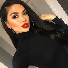 When in doubt go with a red lip ❤️ ___________________________________ Lips • Arriba! @colourpopcosmetics #iluvsarahiixcolourpop Lashes • Miami @lillylashes Brows • #3 Browzings @benefitcosmetics Highlight • 02 @makeupforeverus Bronzer • Laguna @narsissist #iluvsarahii