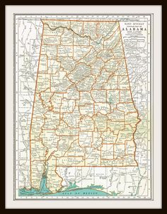 1935 Antique Map - ALABAMA Map - During his first five years in Maycomb, Atticus practiced economy more than anything. For several years thereafter he invested his earnings in his brother's education.