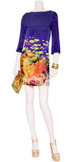 Mary Katrantzou Silk Dress. Trying to wear more color. Losing the battle but this might work.