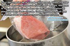 Il y a un truc de cuisine pour décongeler la viande en 10 min sans utiliser de micro-ondes ou de four. L'astuce est d'utiliser une casserole remplie d'eau chaude.  Découvrez l'astuce ici : http://www.comment-economiser.fr/decongeler-viande-rapidement.html?utm_content=bufferb306e&utm_medium=social&utm_source=pinterest.com&utm_campaign=buffer