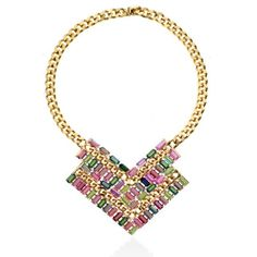 High Polished Gold & Multi Baguette Necklace from Janis Savitt. Gold Plated. Multi Color Baguette Swarovski Crystals.    Shop our officially authorized Janis Savitt boutique for all of her designs.
