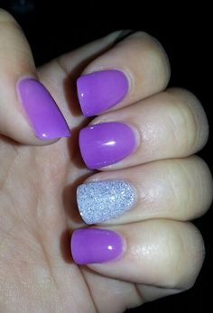 New nails! They are dipped in powder instead of painted. Super smooth akd delicate though!!!  Done by Nancy Nguyen at Venetian Nail Spa in Fortworth TX!!!  Purple powder acrylic nails. New nails. Manicure. Purple nails. Glitter nails. Powder nails