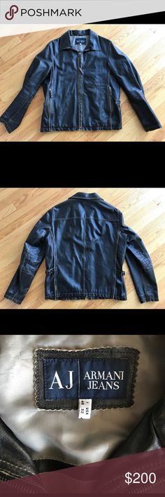 Armani men's leather jacket Great condition mens leather jacket. Emporio Armani Smoke and pet free home Armani Jeans Jackets & Coats