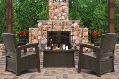Bring friends together with the Outdoor Get-Together set of Suncast ELEMENTS™ Outdoor Furniture