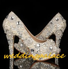 4.5 inch pearl Wedding Shoes-New Peep Toe Heels shoes-Bling Shoes-Shine Heels crystals Peep Toe Shoes on Etsy, $199.00 @Brook Hamrick Johnson these made me think of you!