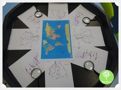 This enhancement was used with focus groups for a topic lesson. The children were provided with a range of maps to explore. We began by looking at the United Kingdom and its cities. To start the children off I asked. Geography Activities, Geography Map, Eyfs Activities, World Geography, Educational Activities, Eyfs Classroom, Classroom Displays, Continuous Provision Year 1, Literacy Display